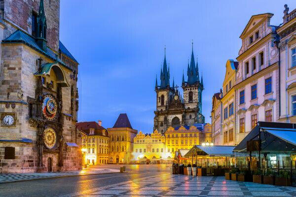 Czech Republic, Prague, Astronomical clock of Old Town Hall and Church of Our Lady before Tyn at dusk