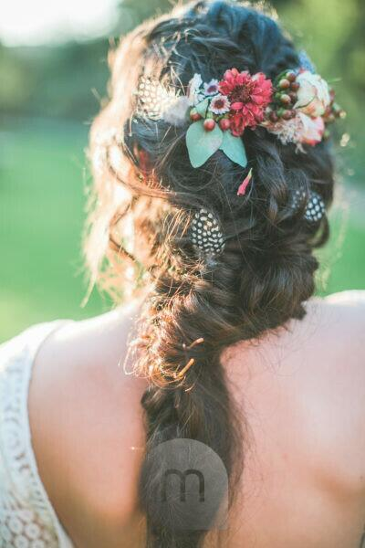 Young bride outside, hair ornament, back view, medium close-up,