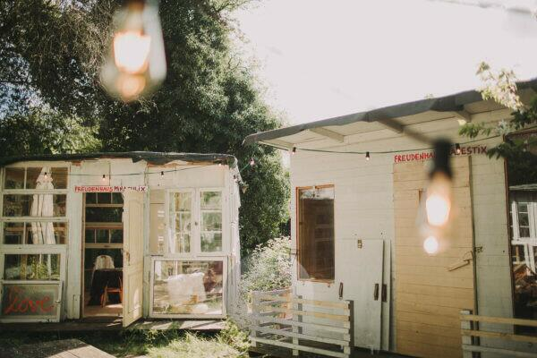 Alternative wedding, garden shed, string of lights