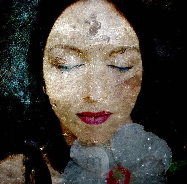 photomontage, Woman, Blossom, Detail,