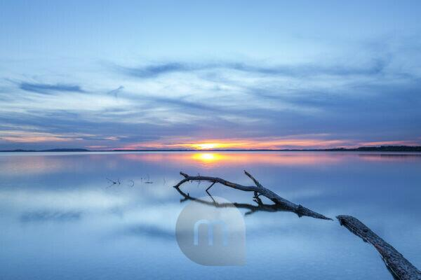 Sunset in Seebruck am Chiemsee, Chiemgau, Upper Bavaria, Bavaria, southern Germany, Germany, Europe