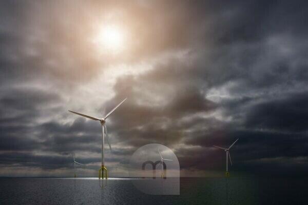 3d, CGI, [M], symbol, energy, wind park, eco-power, wind turbine, sea
