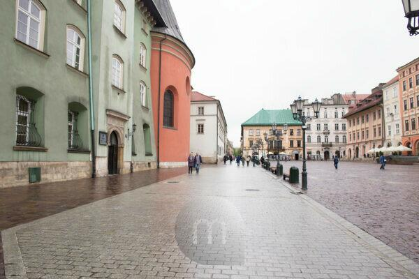 Street view, Maly Rynek, Small Market Square in the old town of Krakow, Poland