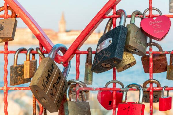 installation with padlocks near the old town coast of Porec, Istria, Croatia