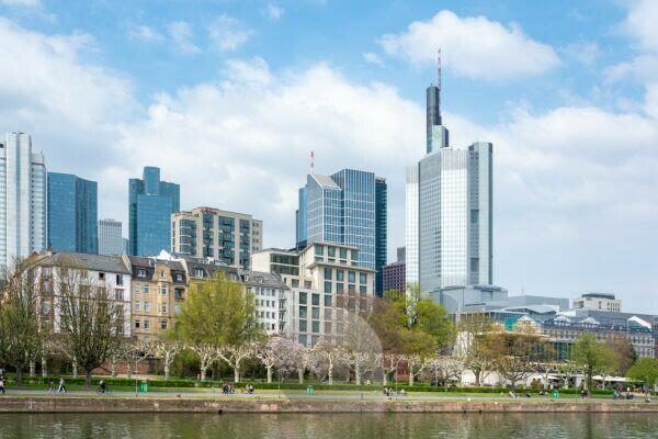 Germany, Hesse, Frankfurt am Main, Frankfurt skyline, right the headquarters of the Commerzbank.