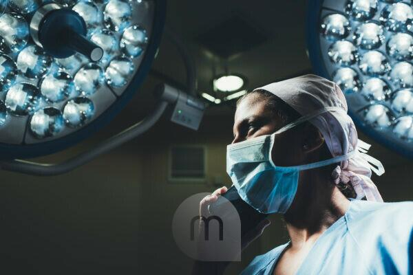 Nurse on the phone in operating room
