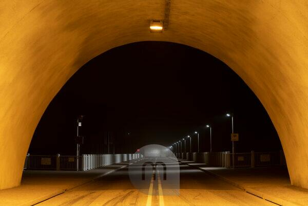 Germany, Saxony-Anhalt, Upper Harz, tunnel to the Rappbodetalsperre, car tunnel, at night, Harz.