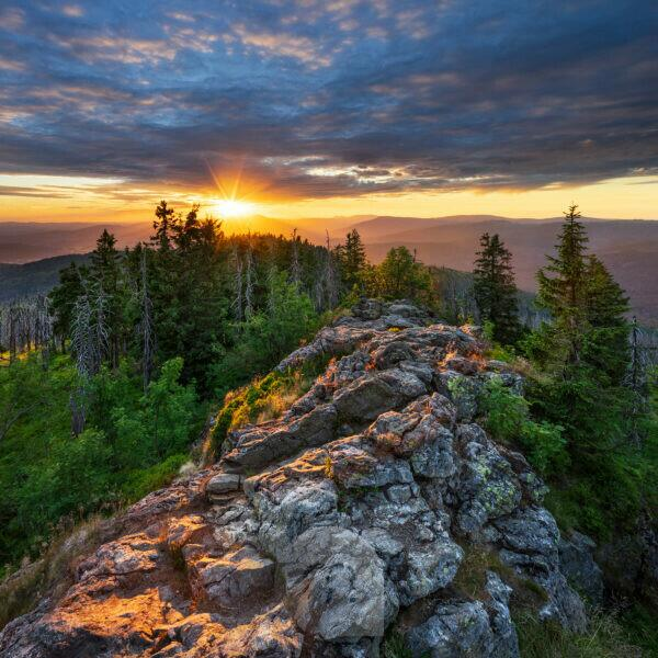 View from the summit of the Great Rachel, sunset, Bavarian Forest National Park, Bavaria, Germany