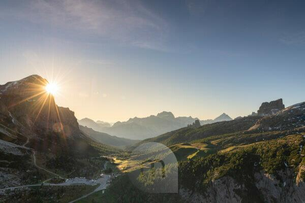 Sunrise in the Dolomites, view of the Tofane, Monte Averau and the Cinque Torri, Italy